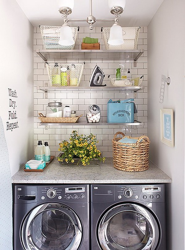DIY Small Laundry Room Organization Ideas With Top Loading Washer 2