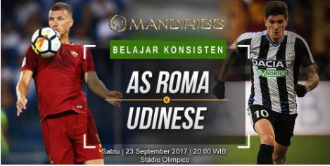 AS Roma akan menjamu Udinese di Stadio Olimpico pada giornata  Berita Terhangat Prediksi Bola : AS Roma Vs Udinese , Sabtu 23 September 2017 Pukul 20.00 WIB