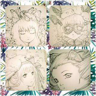 pop manga coloring bk collage 1