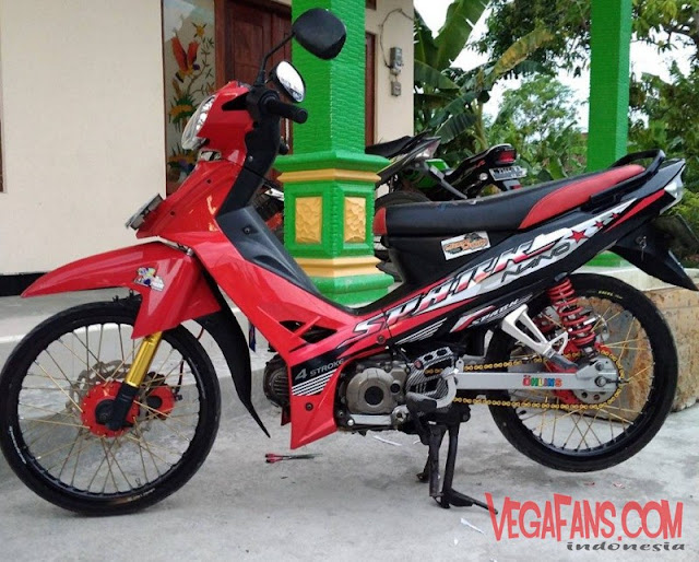 Modifikasi Vega R New Merah Modif Standar Striping Spark
