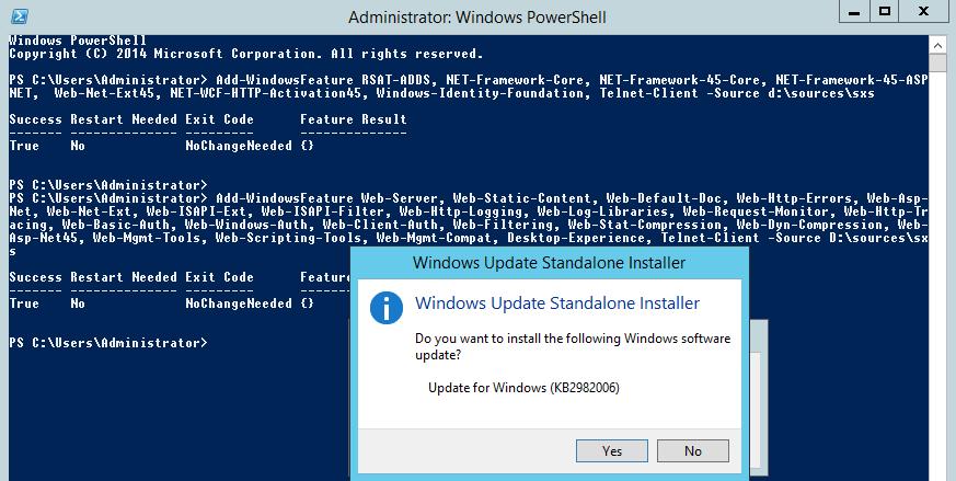 Windows 2012 R2 Update KB2982006: The update is not