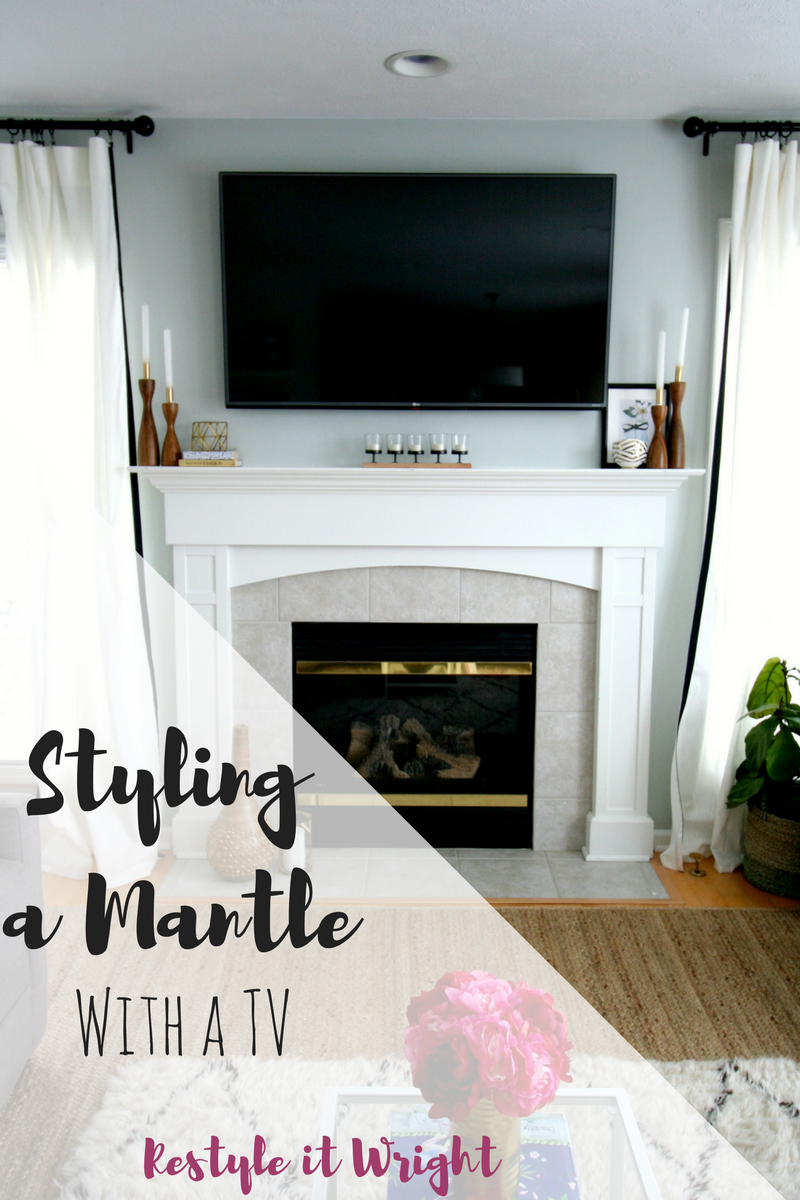restyle it wright styling a mantle with a tv. Black Bedroom Furniture Sets. Home Design Ideas