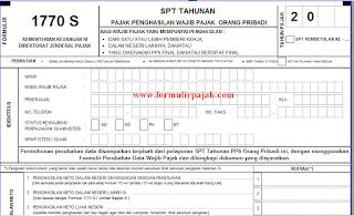 Formulir SPT Tahunan PPh Perorangan 1770 S Excel