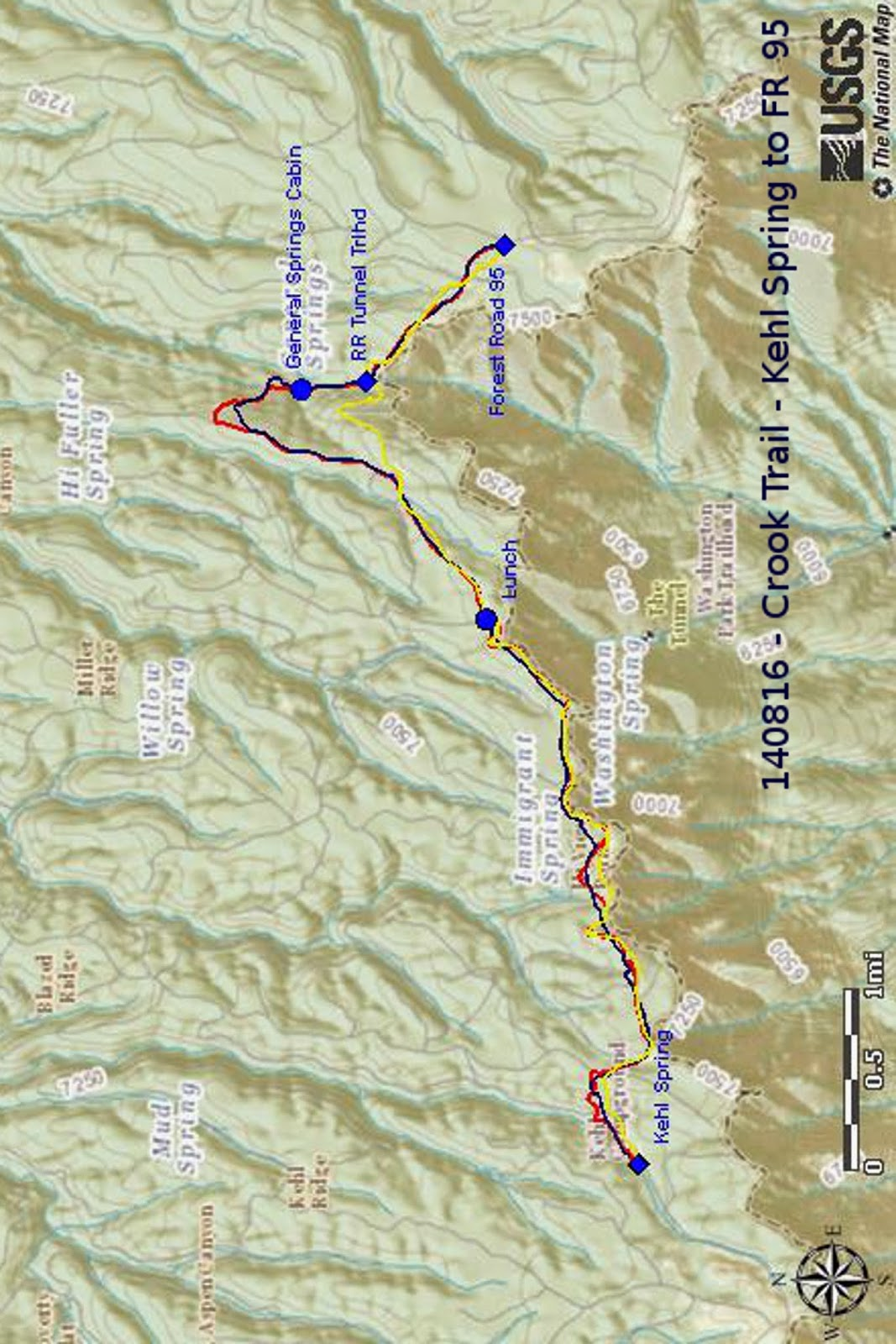 our gps track is shown in red on the included map next page the gps track i downloaded to use as a guide is shown in dark blue and rim road is shown in