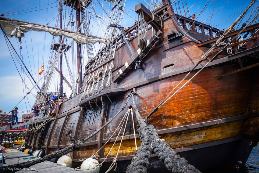 Portland, Maine June 2016 photo by Corey Templeton of tall ship El Galeon docked at Maine Wharf.