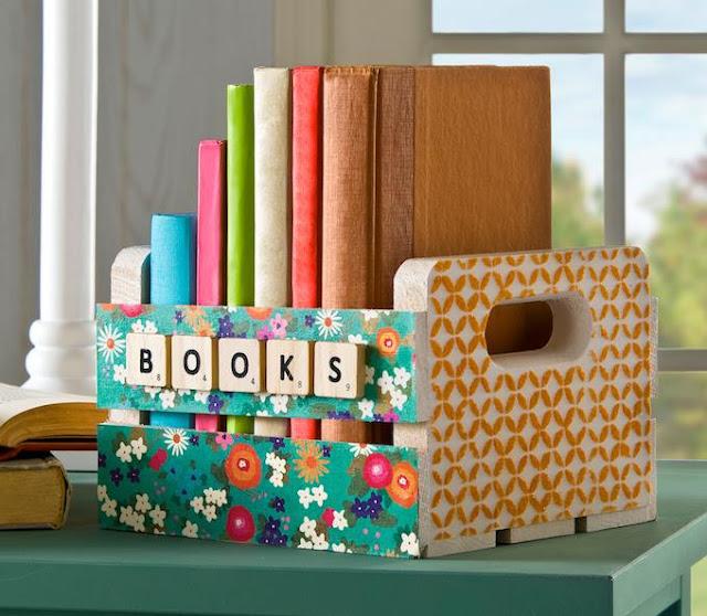 organizar livros reutilizar caixotes de madeira