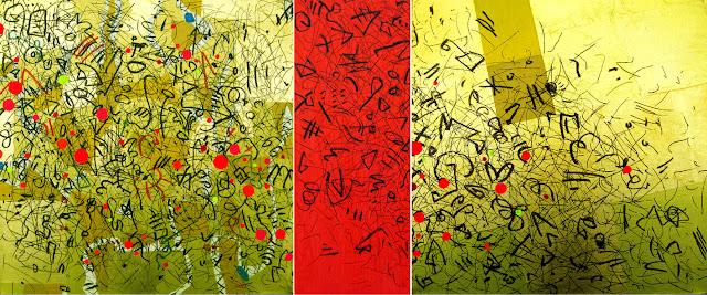 Triptychon mit No. 050111 GZ  Blattgold, Acryl und Filzstift auf Leinwand, 120 x 50 cm, modern, abstrakt, Dagmar Mahlstedt