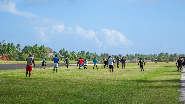 Police officers in Tuvalu playing football or soccer