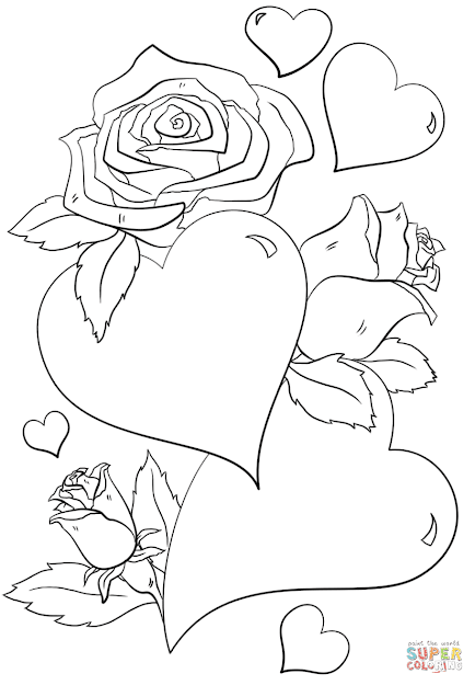 Click The Hearts And Roses Coloring Pages To View Printable Version Or Color  It Online Patible With Ipad And Android Tablets