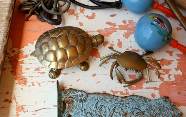 brass turtle and crag figurines