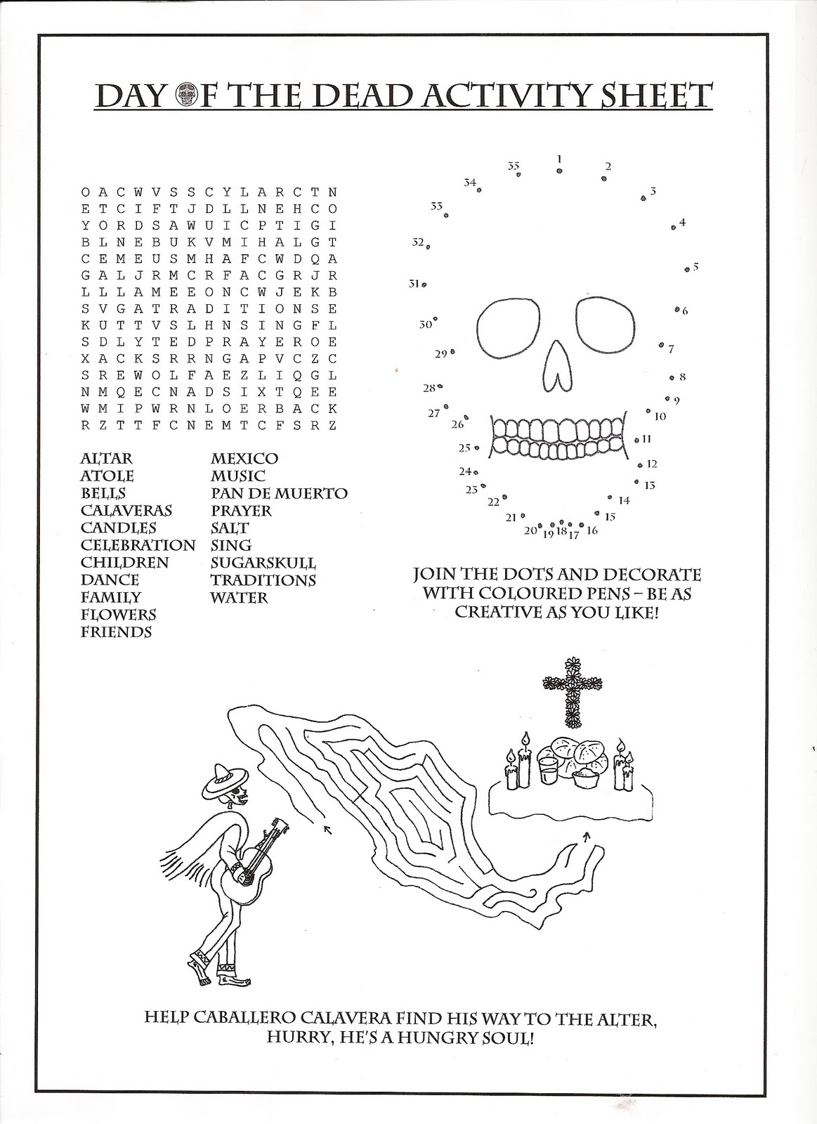 Day Of The Dead Children 39 S Exhibition Actvitiy Sheets Etc