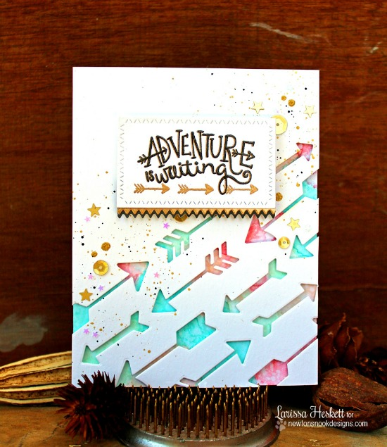 Arrow die cut card by Larissa Heskett | Points & Plumes dies & Adventure Awaits stamp set by Newton's Nook Designs #newtonsnook