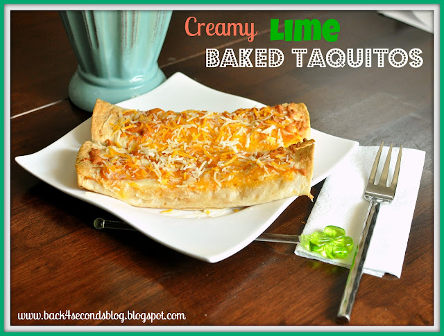 Creamy Lime Baked Taquitos #mexicanfood #taquitos #healthy