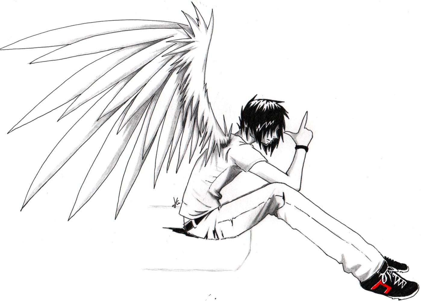 Girl Lip Tattoo: Emo anime angel boy