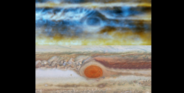 Radio image (top), made with the VLA, and visible-light image (bottom) made with the Hubble Space Telescope, of Jupiter's famous Great Red Spot, a giant storm in the planet's atmosphere. The radio image shows the complex upwellings and downwellings of ammonia gas 30-90 kilometers below the visible clouds. CREDIT: de Pater, et al., NRAO/AUI/NSF; NASA.