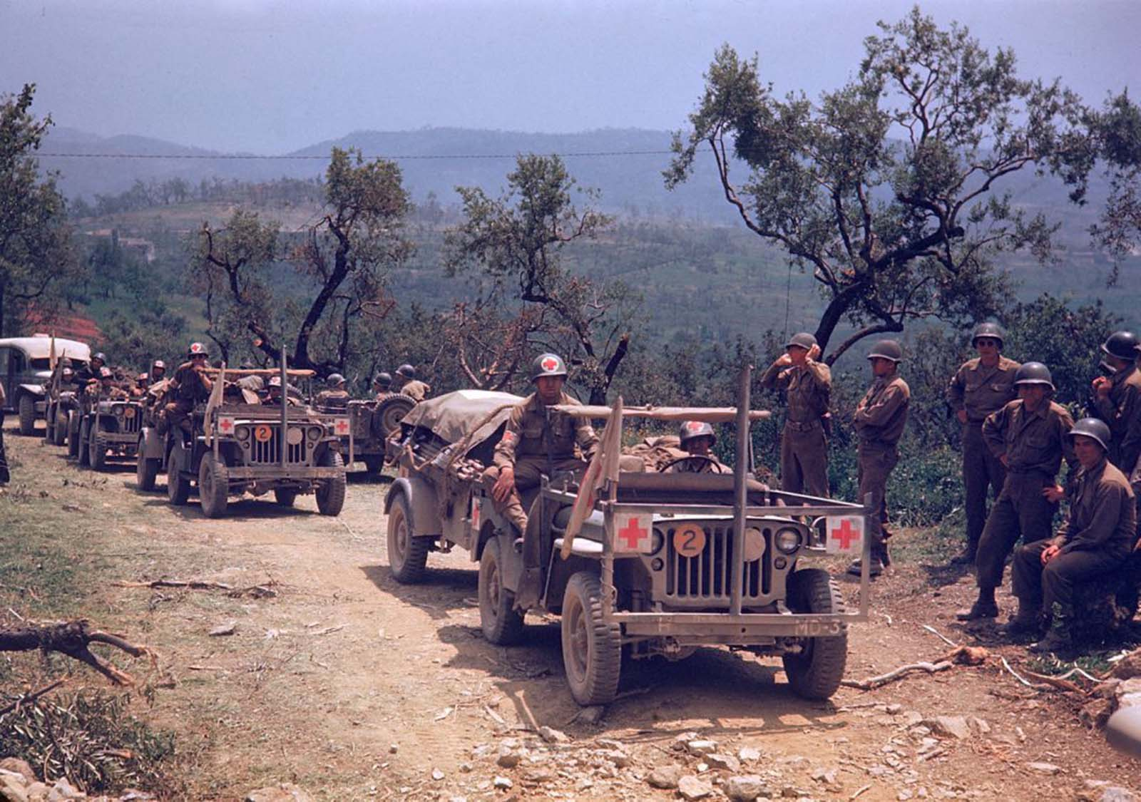 A column of American medical vehicles during the drive towards Rome, World War II.