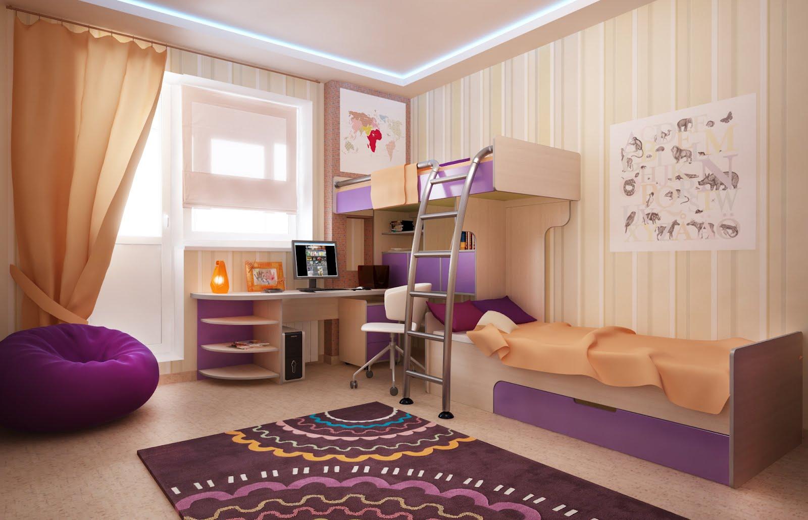 Дизайн детской комнаты для девочки с балконом. дизайн детско.