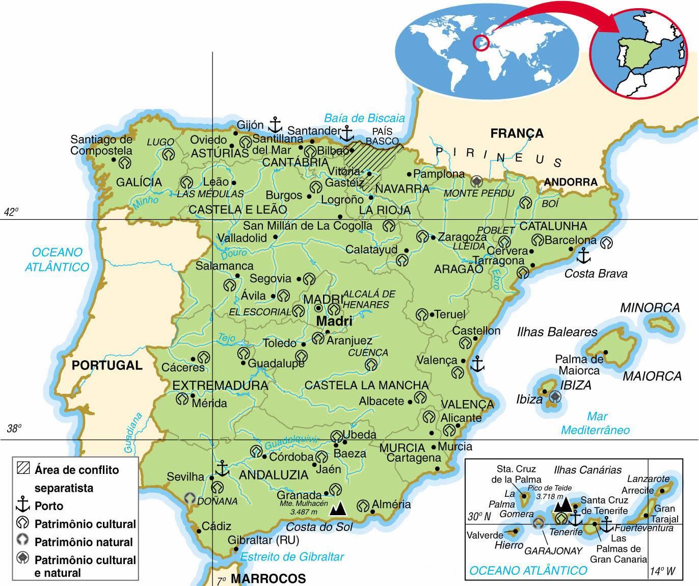 Espanha, Aspectos Geográficos e Socioeconômicos da Espanha