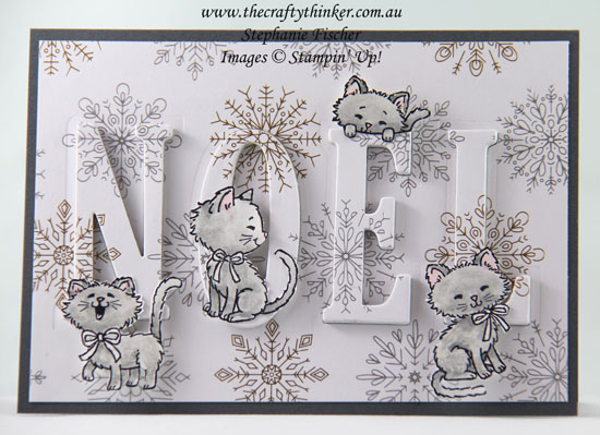 Eclipse Technique, Christmas card for a cat-lover, Xmas, Pretty Kitty, #thecraftythinker, Stampin Up Australia Demonstrator, Stephanie Fischer, Sydney NSW