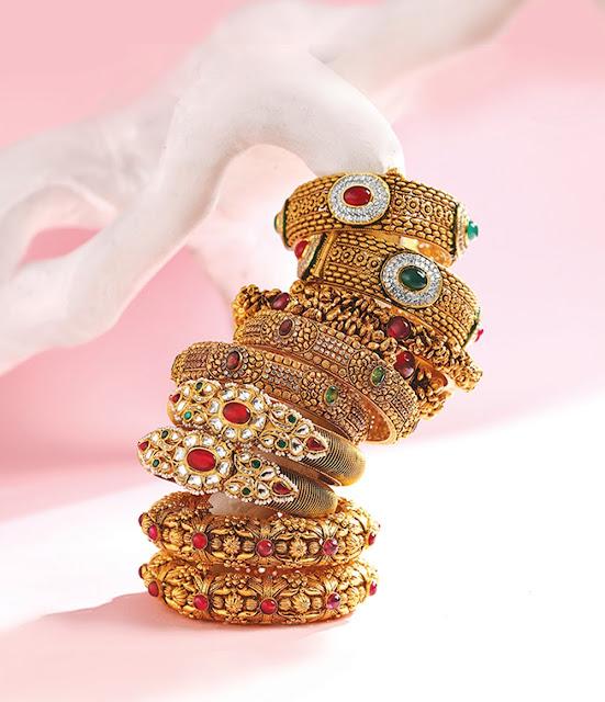 Broad Gold Kada Designs in Antique