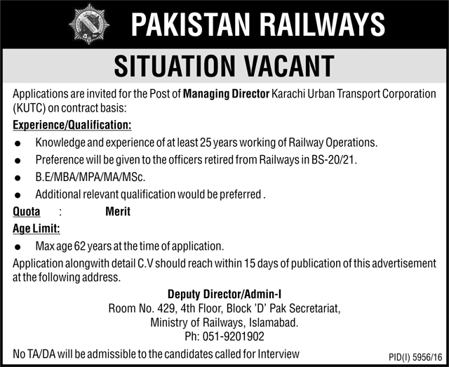 pakistan railways islamabad required managing staff 9 may 2017