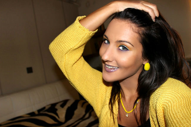 Yellow and purple makeup color combination, colorful makeup ideas