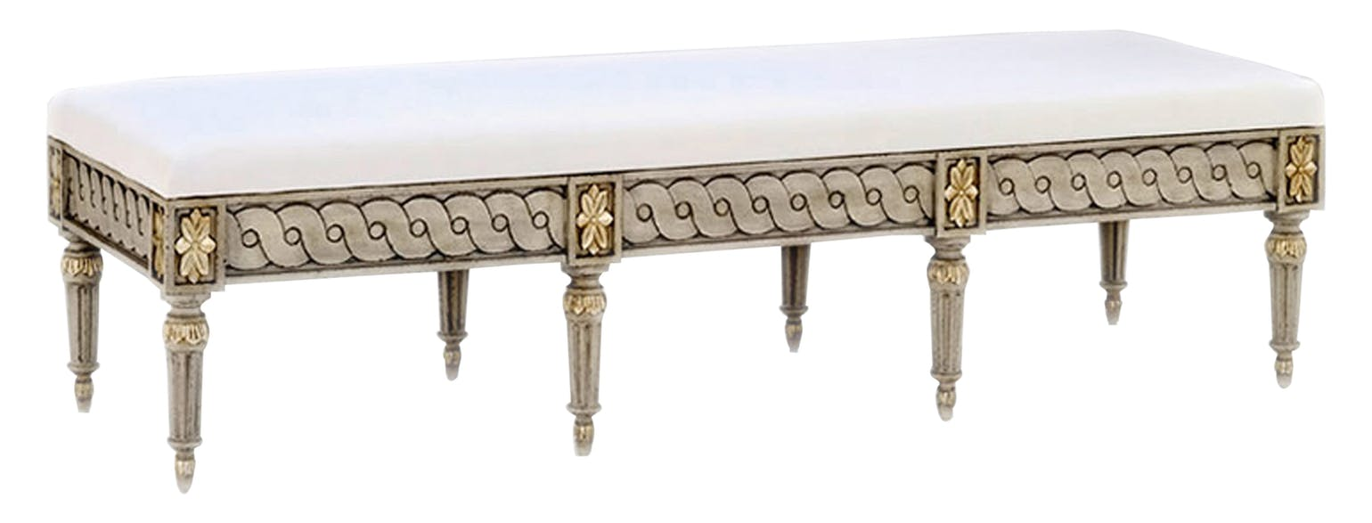 Gustavian bench from Swede Collection furniture company - found on Hello Lovely Studio