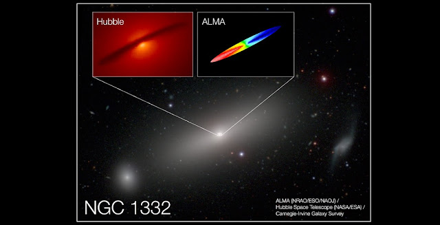 Combined image of NGC 1332 shows the central disk of gas surrounding the supermassive black hole at the center of the galaxy. New ALMA observations traced the motion of the disk, providing remarkably precise measurements of the black hole's mass: 660 million times the mass of our Sun. The red region in the ALMA image represents emission that has been redshifted by gas rotating away from us; the blue represents emission blue-shifted by gas rotating toward us. The range of colors represents rotational speeds up to 500 kilometers per second. Credit: A. Barth (UCI), ALMA (NRAO/ESO/NAOJ); NASA/ESA Hubble; Carnegie-Irvine Galaxy Survey.