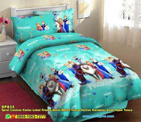 Sprei Custom Katun Lokal Frozen Snow White Tosca Kartun Karakter Anak Hijau Tosca