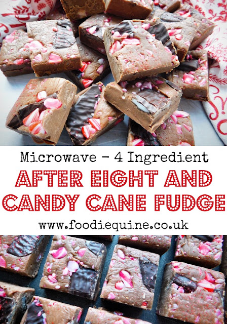 www.foodiequine.co.uk Such an quick and easy four ingredient festive fudge to make with minty additions from After Eights and Candy Canes for a real taste of Chritmas. No tricky temperatures or boiling hot sugar required!