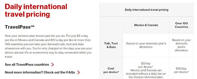 Verizon International Travel  Talk Text Data