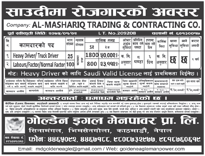Jobs in Saudi Arabia for Nepali, Salary Rs 50,002