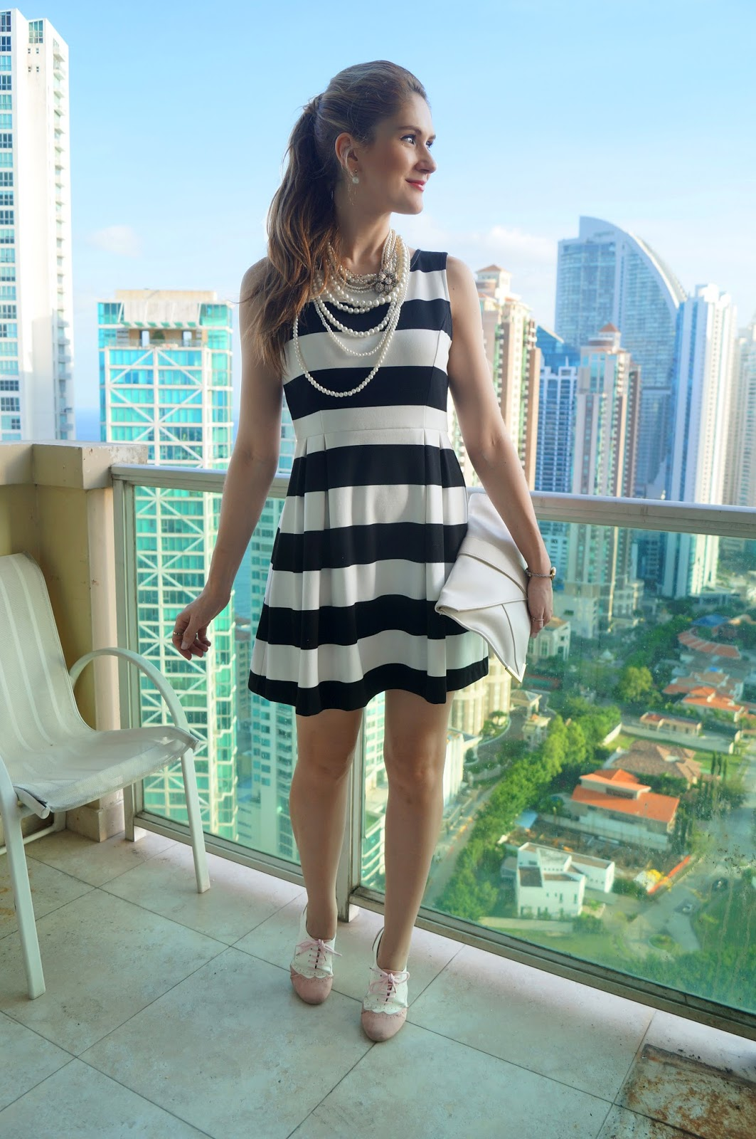 Pair a Striped dress with pearls for a classic chic outfit!
