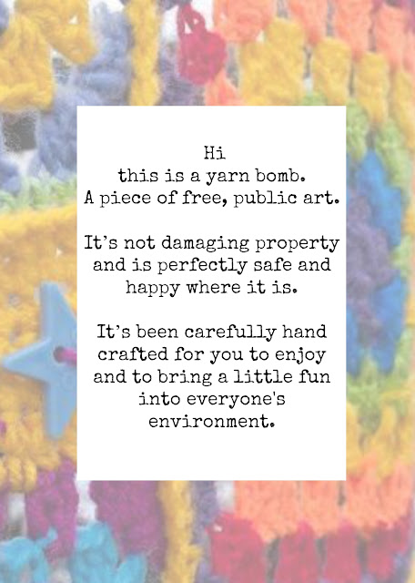 7 Yarnbombing Tips and 4 Free Printable Tags for Your Yarnbomb.