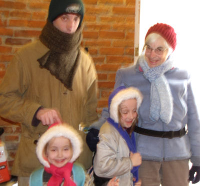 family bundled for winter