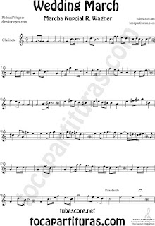 Clarinete Partitura de La Marcha Nupcial de Wagner Sheet Music for Clarinet Music Score