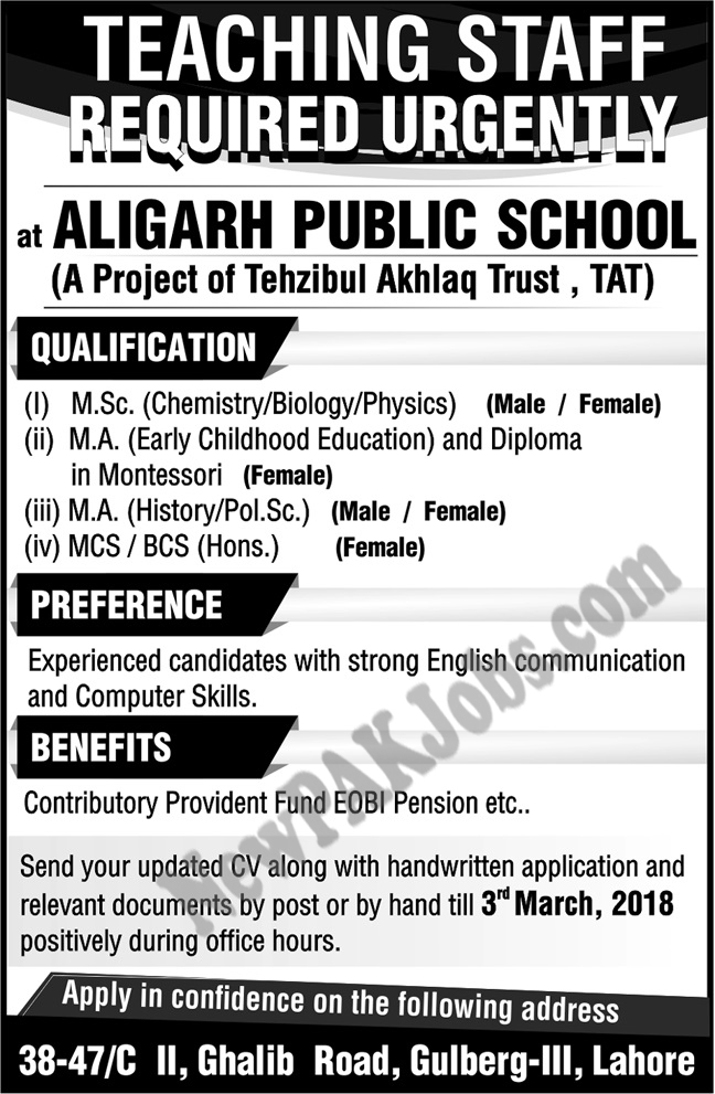 Latest Jobs for Teaching Staff in Aligarh Public School Lahore
