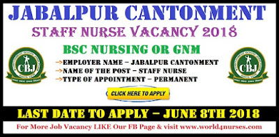 Jabalpur Cantonment Staff Nurse Vacancy 2018