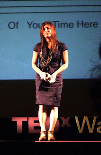 Amy Krouse Rosenthal, onstage at TEDx Waterloo in 2010