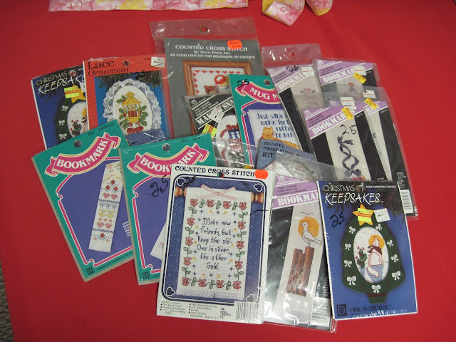 Cross stitch kits to include in Operation Christmas Child shoeboxes.