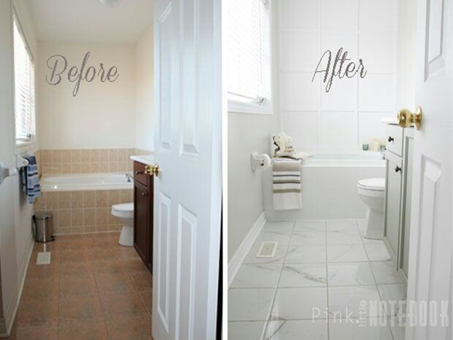 In our small bathroom every space in very important, the right wall color combination, tiles or lighting. The purpose of this makeover is to transform the out dated bathroom into bright and stylish bathroom. To see more makeover explore the 55 incredible small bathroom makeover/ before and after.