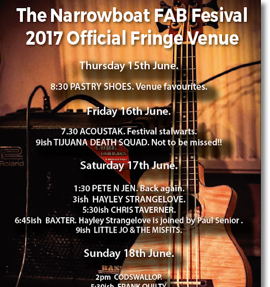 FAB FESTIVAL 2017: FESTIVAL WEEKEND AT THE NARROWBOAT