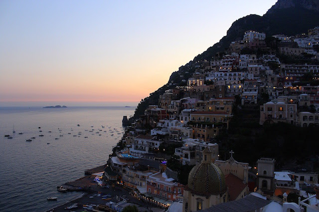 Sunset view of Positano from Franco's bar
