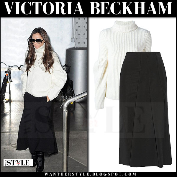 Victoria Beckham in white turtleneck sweater and black skirt what she wore streetstyle winter