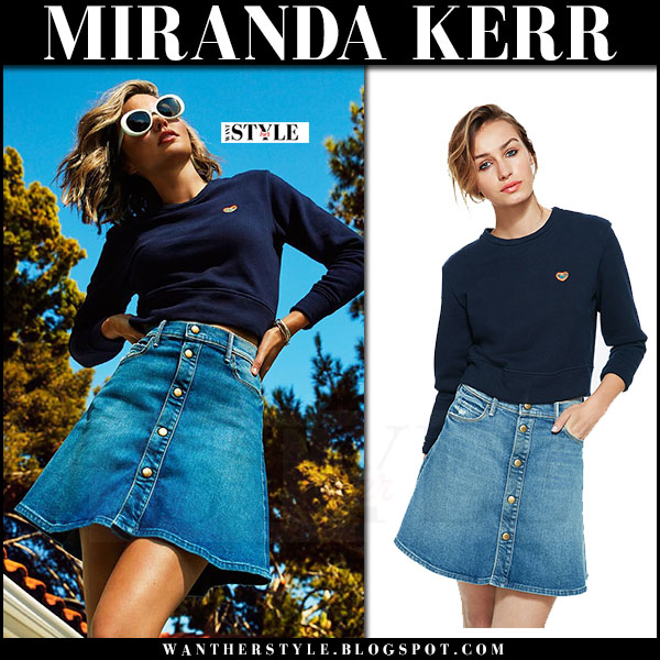 Miranda Kerr in blue sweatshirt and denim mini skirt Mother x Miranda 2017 collection what she wore