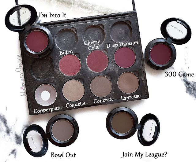 MAC Bowl Out Join My League 300 Game I'm Into It Eyeshadow Dupe Review Concrete Coquette Espresso Copperplate
