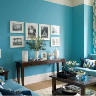 Mengecat R Tamu Elegan Sederhana Warna Biru