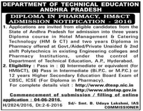 AP Diploma in Hotel Management,Catering Technology(HM& CT),Admissions 2016