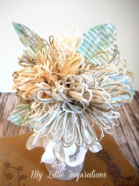 DIY Twine and raffia flowers with recycled paper leaves - Fiori di spago e rafia con foglie carta riciclata 15 - My Little Inspirations