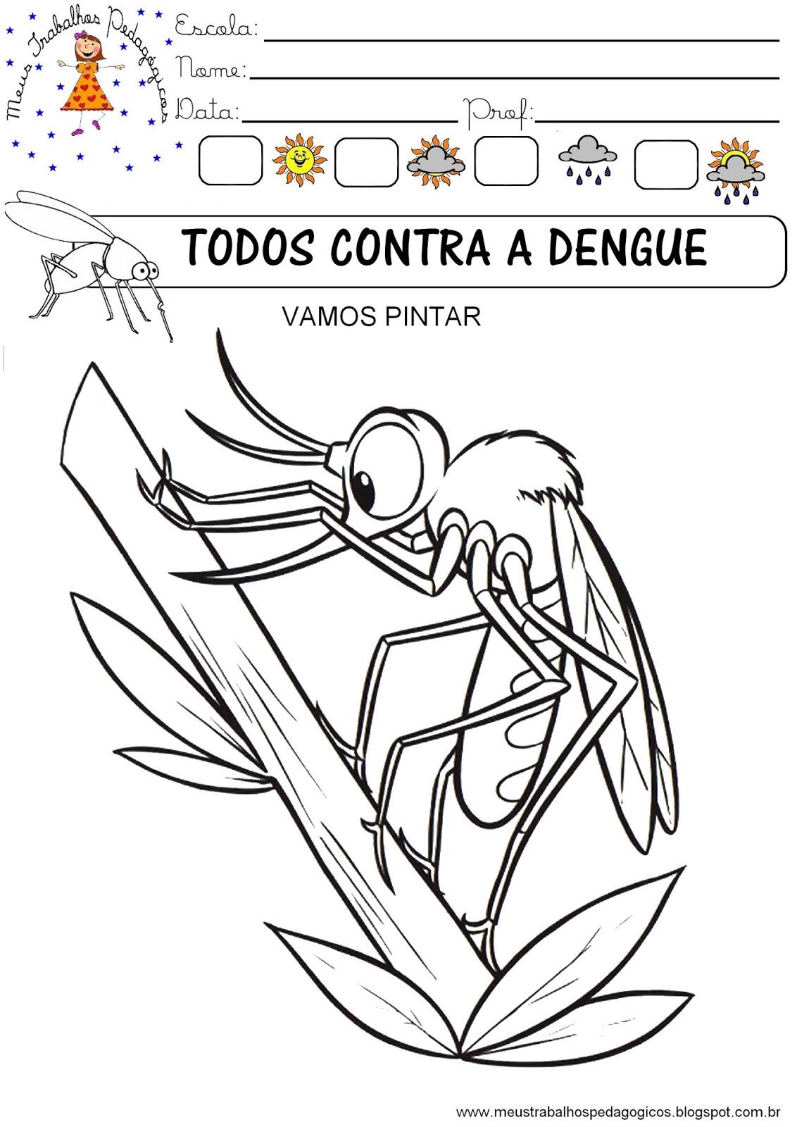 desenho mosquito da dengue para pintar